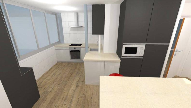 reforma en 3d de una cocina